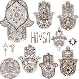 A set of palms-hamsa in the style of mehendi. Royalty Free Stock Photo