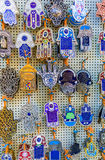 The hamsa amulets. The Hamsa the most popular amulet in Middle Eastern countries, from Islam it became a part of Jewish tradition, Jerusalem, Israel stock photo