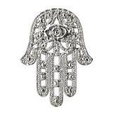 Hamsa d'argento, mano di Fatima Amulet Symbol rappresentazione 3d illustrazione vettoriale