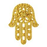 Hamsa de oro, mano de Fatima Amulet Symbol representación 3d ilustración del vector
