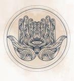 Hamsa disegnato a mano decorato Amuleto arabo ed ebreo popolare Vecto illustrazione di stock