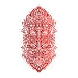 Hamsa disegnato a mano indiano di vettore con gli ornamenti etnici Bello ornamento di ethnica dell'India Stile piega del tatuaggi Fotografia Stock