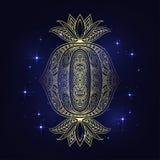 Hamsa disegnato a mano indiano di vettore con gli ornamenti etnici Bello ornamento di ethnica dell'India Stile piega del tatuaggi Fotografia Stock Libera da Diritti