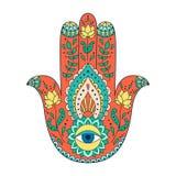 Hamsa disegnato a mano indiano Tatuaggio del hennè di Hamsa con l'ornamento etnico Immagini Stock Libere da Diritti