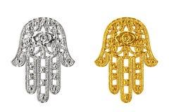 Hamsa dourado e de prata, mão de Fatima Amulet Symbol rende 3D ilustração royalty free