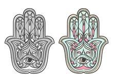 Hamsa, Fatima hand amulet vector symbol set Royalty Free Stock Photos
