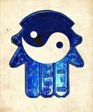 Hamsa fatima hand yin yang. Hamsa fatima hand ( Arabic Khamsa or five) to keep the evil away - with yin yan ying yang acts as a blue eye to avoid evil royalty free stock image