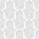 Hamsa hand. Black and white seamless pattern for coloring page. Decorative amulet for good luck and prosperity. Royalty Free Stock Photos