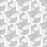 Hamsa hand. Black and white seamless pattern for coloring page. Decorative amulet for good luck and prosperity. Stock Images