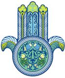 Hamsa hand in blue Royalty Free Stock Photos