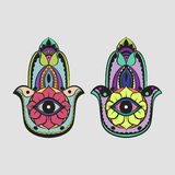 Hamsa Hand Colorful Drawing. On White Background Royalty Free Stock Photos