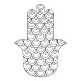 Hamsa hand drawn symbol. Black and white illustration for coloring page. Decorative amulet for good luck and prosperity Royalty Free Stock Image