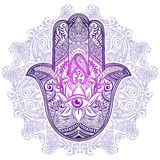 Hamsa Hand of Fatima. Hand drawn Ornate amulet Hamsa Hand of Fatima. Ethnic amulet common in Indian, Arabic and Jewish cultures Royalty Free Illustration
