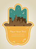 Hamsa hand with Jerusalem skyline. illustration Stock Photos