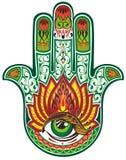 Hamsa hand. Ornamental and decorative hamsa hand with green eye Stock Photos