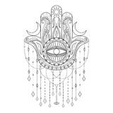 Hamsa hand vector illustration. Hand drawn symbol of protection Royalty Free Stock Photography