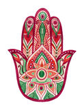 Hamsa Hand in watercolor. Protective and Good luck amulet in Indian, Arabic  Jewish cultures. Hamesh hand in vivid colors. Hamsa Hand in watercolor. Protective Stock Images