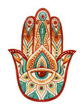 Hamsa Hand in watercolor. Protective and Good luck amulet in Indian, Arabic  Jewish cultures. Hamesh hand in vivid colors. Hamsa Hand in watercolor. Protective Royalty Free Stock Image