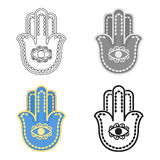 Hamsa icon in cartoon style isolated on white background. Religion symbol stock vector illustration. Hamsa icon in cartoon style isolated on white background Stock Photography