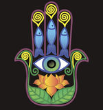 Hamsa with lotos and eye Stock Images
