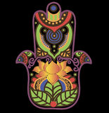 Hamsa with lotos and paisley. Vector image can be changed at any size Royalty Free Stock Photo