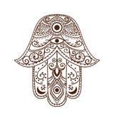Hamsa2. Ornament card with hamsa. Geometric circle element made in vector Stock Photo
