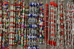 Hamsa and Protective Charm Bracelets, Jerusalem, Old City, April 2017. Display of bracelets made with a range of protective symbols, such as the Hamsa, the Royalty Free Stock Photography