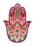 Hamsa ręka w akwareli Ochronny i szczęście amulet w indianinie, Arabskie Żydowskie kultury Hamesh ręka w żywych kolorach Obrazy Stock
