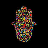 Hamsa shape. Vector illustration of  hamsa shape  made up a lot of  multicolored small flowers on the black background Royalty Free Stock Photo