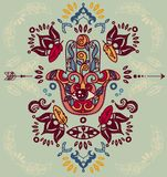 Hamsa symbol with hand drawn ornaments and feathers frame royalty free illustration