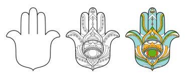 Hamsa symbolsuppsättning Vektorillustrationen isoleras på en vit bakgrund Esoterisk skyddande amuletthand av Fatima royaltyfri illustrationer