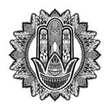 Hamsa talisman religion Asian. Black color graphic in white background. Symbol of protection and talisman against the evil eye. Tattoo motif.Vector illustration royalty free illustration