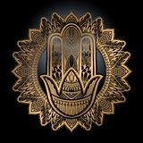 Hamsa talisman religion Asian. Gold gradient color graphic in black background. Symbol of protection and talisman against the evil. Eye.Vector illustration stock illustration