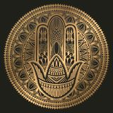 Hamsa talisman religion Asian. Gold gradient color graphic in black background. Symbol of protection and talisman against the evil. Eye.Vector illustration royalty free illustration