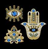 Hamsa, wszystkowidzący oko i lotosowe łaty haftujący z, koralikami, cekinami i biżuterią, również zwrócić corel ilustracji wektor Obraz Royalty Free