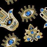 Hamsa, wszystkowidzący oko i lotosowe łaty haftujący z, koralikami, cekinami i biżuterią, również zwrócić corel ilustracji wektor Fotografia Royalty Free