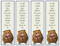 Hamster Bookmarks with Verse. This is an image of four identical bookmarks featuring my artwork of a cute hamster and a little verse that will appeal to children Royalty Free Stock Images