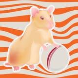 Hamster dourado do vetor com a bola em fundo listrado ilustração royalty free