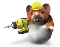 Hamster With Drill Ready to Work Royalty Free Stock Image