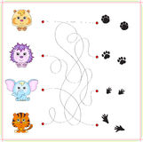 Hamster, hedgehog, elephant and tiger with their traces of foot Stock Photos