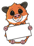 Hamster holding a blank sign Royalty Free Stock Image