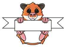 Hamster holding a blank sign stock illustration