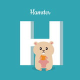 Hamster with letter H  on blue. Alphabet. Hamster with letter H  on blue. Domestic hamster with biscuit. Part of alphabetic series with animals. Fluffy rodent Stock Photo