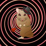 A hamster in love hypnotizes with a look stock illustration