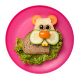 Hamster made of bread and vegetables. On plate royalty free stock photos