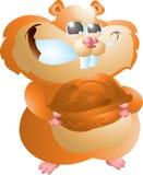 Hamster med valnöten Arkivbild