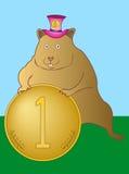 Hamster mit einer Münze Lizenzfreies Stockbild