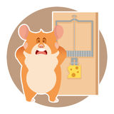 Hamster and a mousetrap Stock Photo