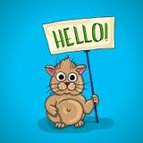 Hamster pequeno carnudo quadro indicador, quadro de avisos que diz olá! Imagem de Stock