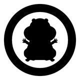 Hamster silhouette icon black color in circle. Vector illustration isolated Stock Images
